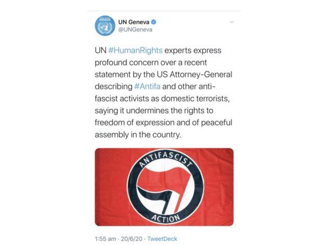 Antifas: perfil da ONU apaga tweet defendendo grupo