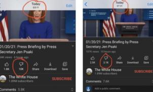 YouTube apagou deslikes de vídeos de Biden:
