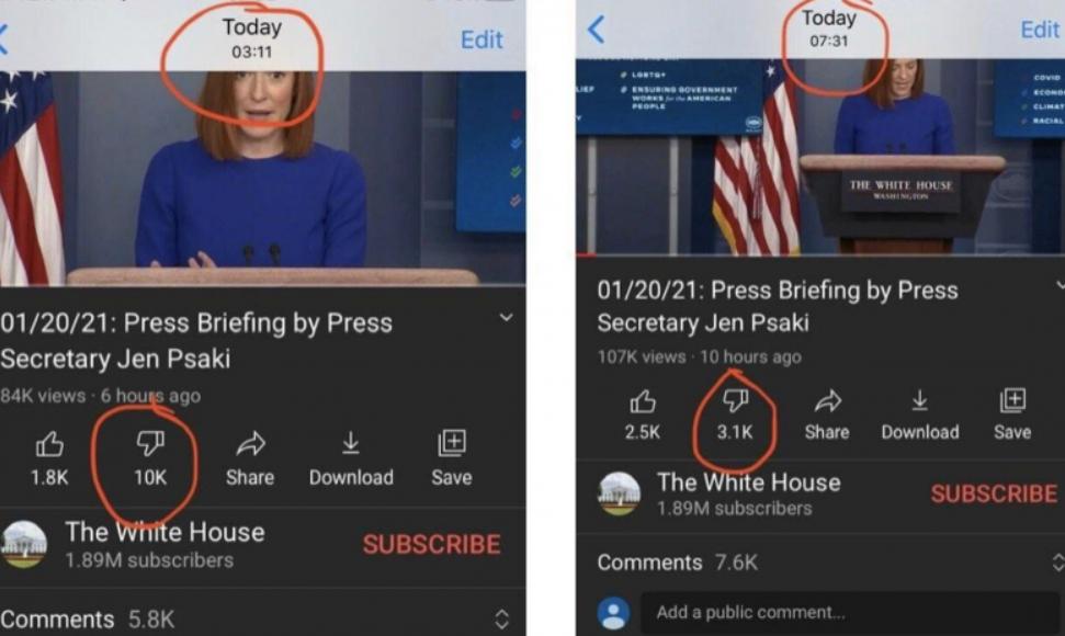 """YouTube apagou deslikes de vídeos de Biden: """"são falsos"""""""